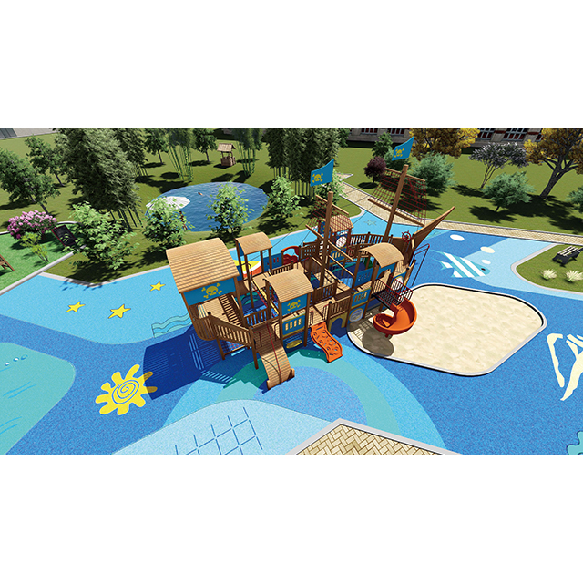 Parc d'attractions Kid Playground en bois Pirate Ship Playset pour tout-petit